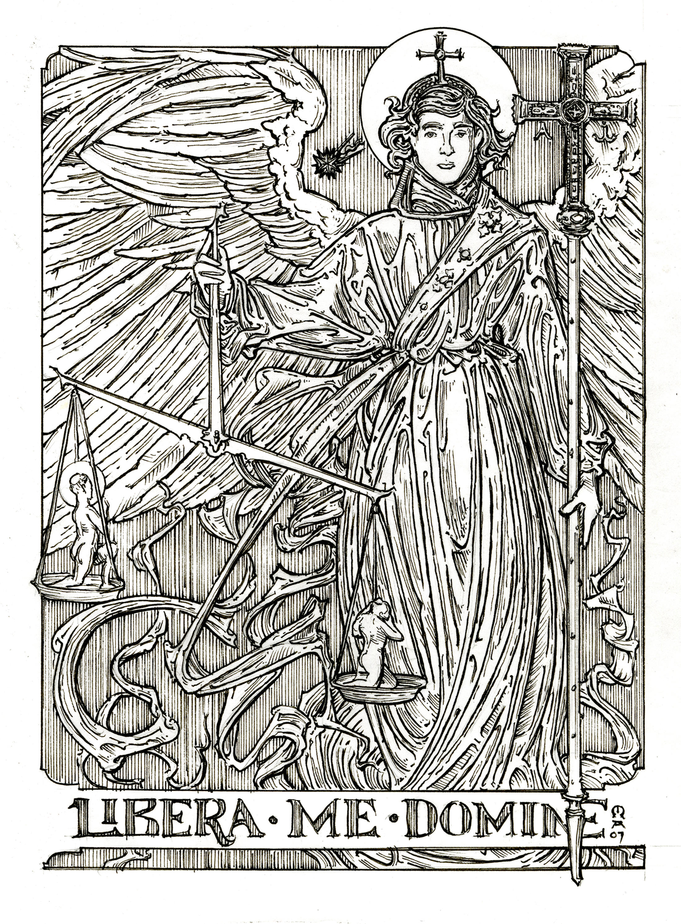 coloring page image of st michael