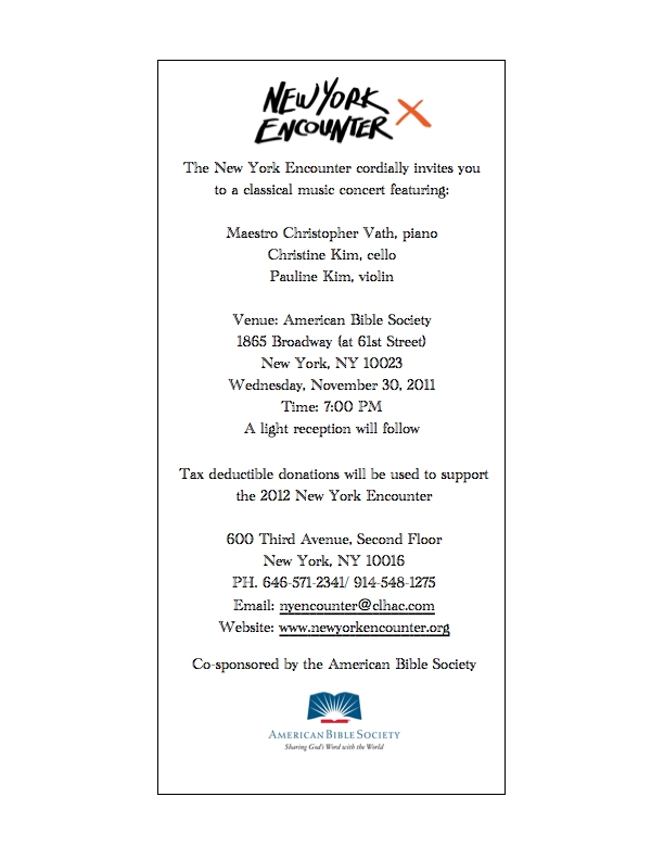 New york encounter hosts concert of classical music in nyc november concert invitationg stopboris Gallery