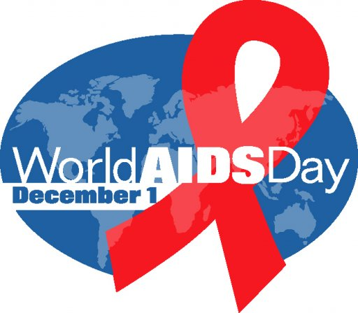 World AIDS Day logo, with a bright red ribbon.