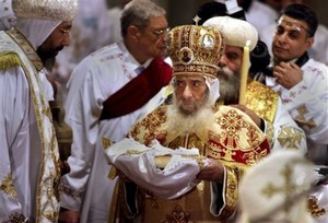 Pope Shenouda III, Coptic Cathedral in Cairo Jan. 7, 2010.jpg