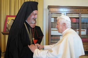 Orthodox rchbishop with Pope June 28 2011.jpg