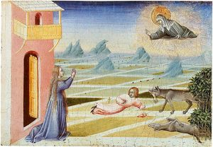 St Clare of Assisi saving a child from a wolf.jpg