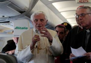 Pope with journalists on plane to Madrid 2011.jpeg