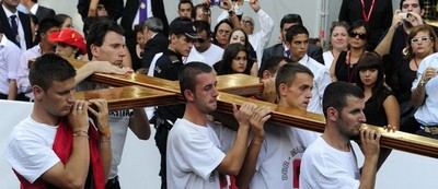 WYD cross during a Crucifixion ceremony.jpg