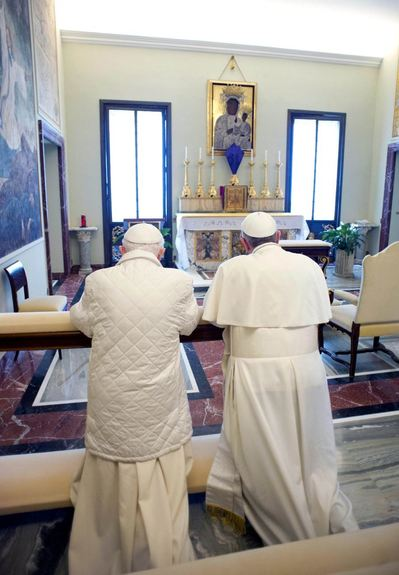 2 popes praying at Gandolfo 23 March 2013.jpg