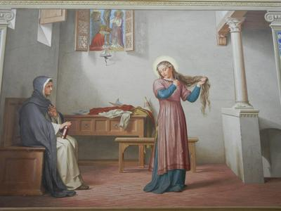 St Catherine of Siena cuts hair.jpg
