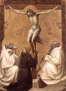 Christ on Cross St Benedict, St Francis MLorenzo