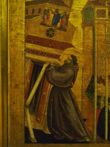 St Francis holding up the church