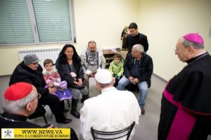 Pope with people in St Cyril church Rome