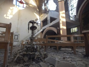 damaged church Im Al-Zinar in Bustan al Diwan, Homs