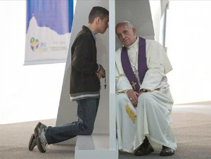 Pope hears confessions