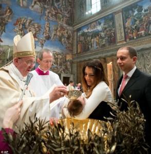 Francis baptizing 2014