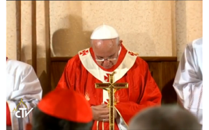 Pope Francis in the cenacle 2014