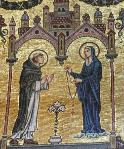 St Dominic receiving the rosary from BVM