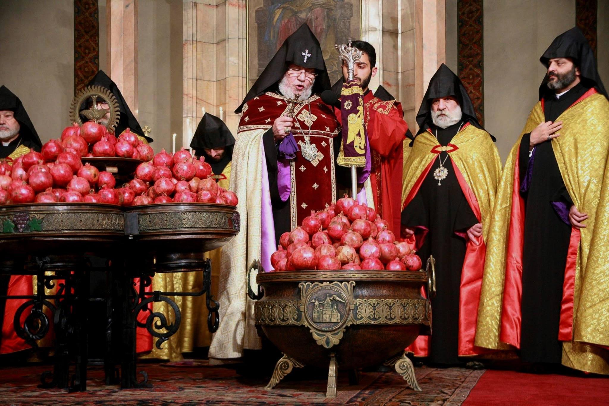 Blessing Of Pomegranates By The Armenian Catholicos Karekin Ii