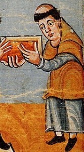 St Rabanus Maurus presenting his work to Pope Gregory IV