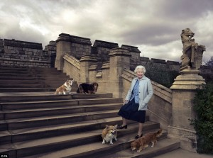 Queen Elizabth and her dogs