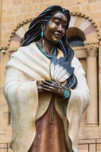 Statue Kateri Tekakwitha, Cathedral Basilica of St. Francis of Assisi, Santa Fe, NM
